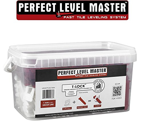 1/32'' T-Lock ™ Complete KIT Anti lippage Tile leveling system by PERFECT LEVEL MASTER ™ 300 spacers & 100 wedges in handy bucket ! Tlock by Perfect Level Master ™
