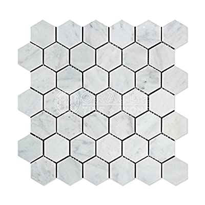 Carrara White Italian Carrera Marble Hexagon Mosaic Tile 2 inch Polished from Stone Center Online