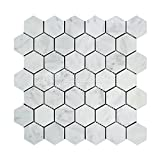 #10: Carrara White Italian (Bianco Carrara) Marble 2 inch Hexagon Mosaic Tile, Polished