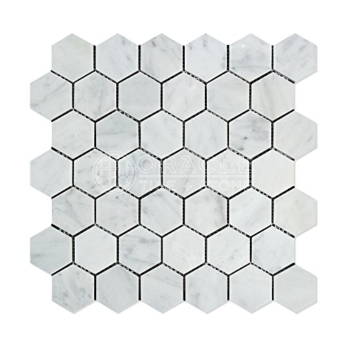 (Carrara White Italian (Bianco Carrara) Marble 2 inch Hexagon Mosaic Tile, Polished)