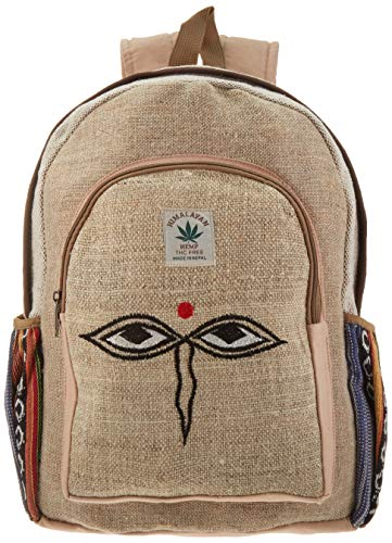 All Natural Handmade Large Multi Pocket Hemp Backpack ( THC FREE) with Laptop Sleeve - Fashion Cute Travel School College Shoulder Bag / Bookbags / Daypack ()