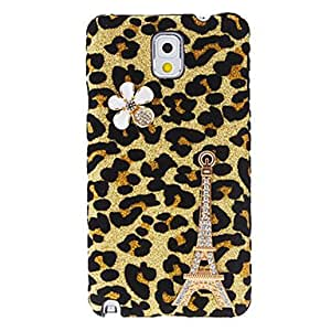 Eiffel Tower Design Leopard Pattern Hard Case with Rhinestone for Samsung Galaxy Note 3 N9000