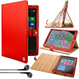 VG Red Arthur Detachable Stand Carrying for Microsoft Surface Pro 3 + Vangoddy Earphones