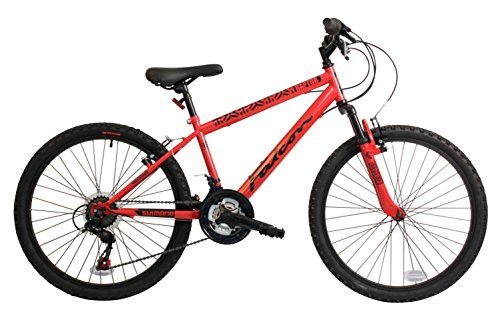 Falcon Raptor Boys' Mountain Bike Red/Black, 14'' inch steel frame, 18-speed zoom front suspension forks powerful front and rear v-brakes by Falcon