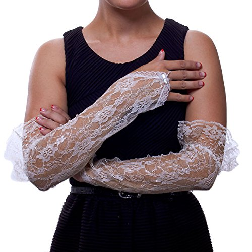 Texas Rosebud Lace Fingerless Gloves with Ruffle (Ivory)