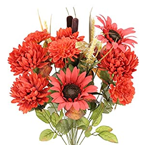 Admired By Nature 2 Piece 18 Stems Home Office/Wedding/Restaurant Decoration Arrangement Artificial Sunflower/Mum/Zinna Mixed Flowers Bush 28