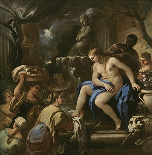 'Giordano Luca Bethsabe En El Bano 1697 98 ' Oil Painting, 16 X 16 Inch / 41 X 42 Cm ,printed On Polyster Canvas ,this High Definition Art Decorative Canvas Prints Is Perfectly Suitalbe For Gift For Girl Friend And Boy Friend And Home Decor And Gifts Fingerprint Christmas Lights Poem