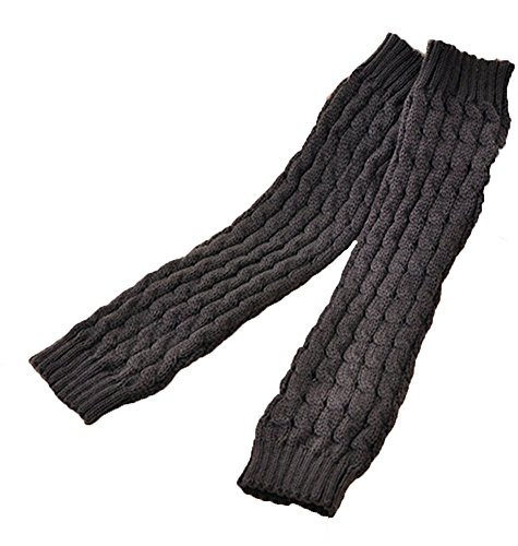 Senchanting Lady Winter Warm Leg Warmer Cable Knitted Crochet Long Socks Legging (Dark Gray)