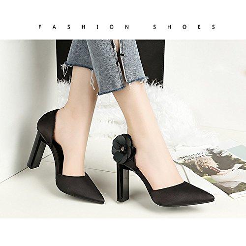 gruesas las boda los fina de únicas zapatos moda con Europa de mujer de y tacón la la Zapatos Flores de América de cabeza Zapatos mujeres Black la verano y Primavera a acentuada Zapatos mujer de baja boca qCxw4StX8n