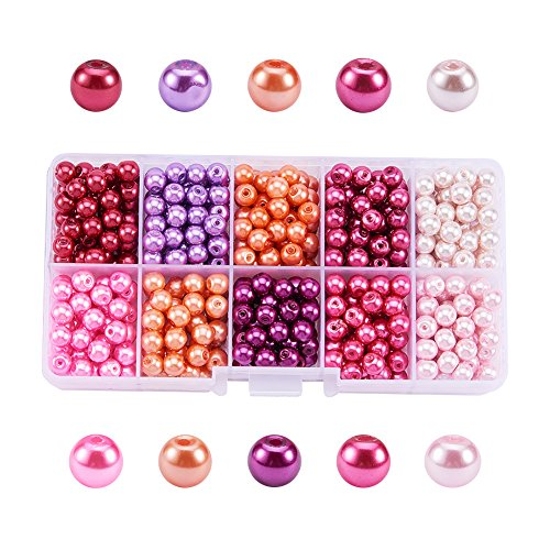 (Pandahall 1 Box (about 600pcs) 10 Color Pink Theme Mixed Style Glass Pearl Round Beads Assortment Lot for Jewelry Making, 6mm, Hole: 1mm)