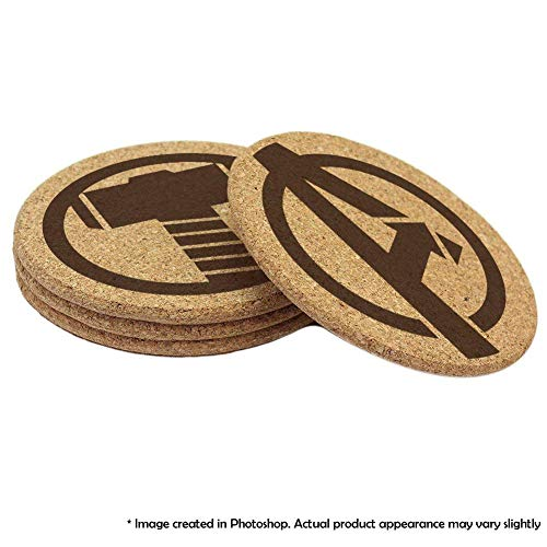Avengers Cork Coaster Set of 4, 6, 8, or 12 (Iron Man, Captain America, Thor, Hulk, Spider-man, Ant Man, Hawkeye, ()