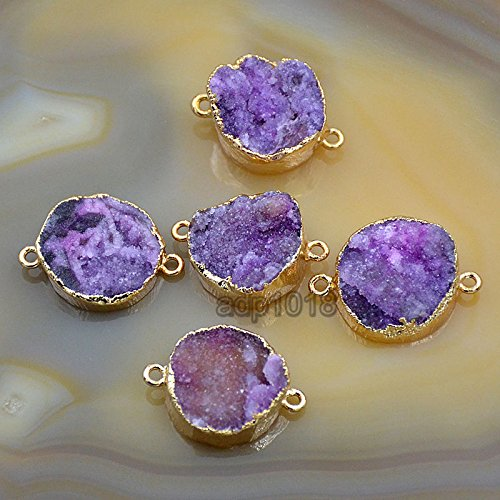 AD Beads Natural Druzy Quartz Agate Bracelet Necklace Connector Charm Beads Gold & Silver (Gold light Purlpe Coin 20-30mm)