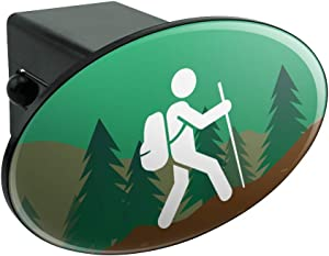 Graphics and More Hiker Hiking Symbol Mountain Nature Oval Tow Hitch Cover Trailer Plug Insert 2""