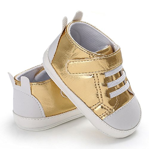 Meeshine Infante Prime Scarpe Da Passeggio Baby Ragazzi Ragazze Bambino Prewalker Presepe Scarpe Da Ginnastica Per Interni Uutdoor Oro