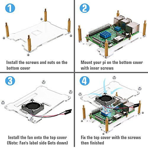 Miuzei Raspberry Pi 3 B+ Case with Fan, Heat Sinks, 2.5A Power Supply with ON OFF Switch, Open-Air Cooling Case for Raspberry Pi 3 B+, Pi 3, Pi 2, B+ by Miuzei (Image #4)