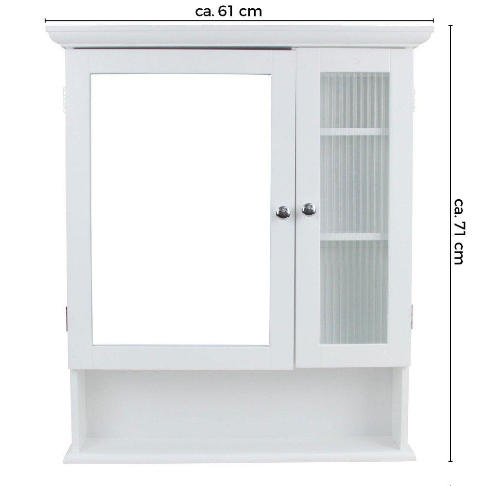 1PLUS Landhaus Badezimmerschrank Spiegelschrank Hängeschrank mit 2 Türen (B x H x T) 61 x 71 x 14,5 cm
