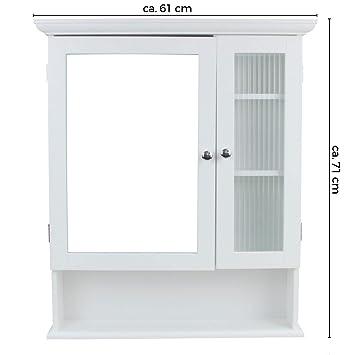 1PLUS Landhaus Badezimmerschrank Spiegelschrank Hängeschrank mit 2 ...