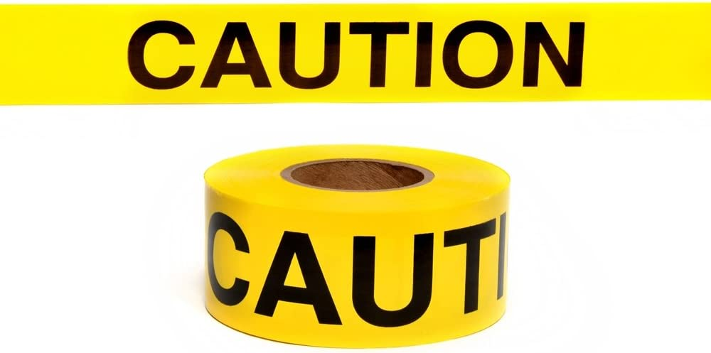 Swanson BT100CAU2 3-Inch by 1000-Feet 2-MIL Barricade Tape Caution with Yellow/Black Print