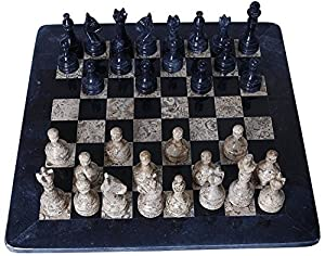 Marble Chess Set, Black/Tan