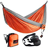 HONEST OUTFITTERS Double Camping Hammock With Hammock Tree Straps,Portable Parachute Nylon Hammock for Backpacking travel 118L x 78W Inches Orange/Grey