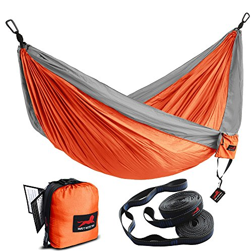 HONEST OUTFITTERS Double Camping Hammock With Hammock Tree Straps,Portable Parachute Nylon Hammock for Backpacking travel 118L x 78W Inches Orange/Grey by HONEST OUTFITTERS