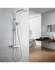 AuraLum Edelstahl klassische Temperatur Duschsystem, Thermostat Duschset mit 10 Zoll Regenduschen Duschkopf, 150CM Duschschlauch Einstellbare Duschstange 80 bis 120CM