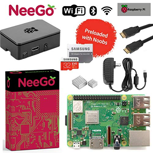 Raspberry Pi 3 B+ Plus Starter Kit, Black, 32GB Edition - Raspberry Pi Barebones Computer Motherboard 64Bit Quad-Core 1.4GHz CPU 1GB RAM, Black PI3 Case, 2.5A Power Supply, 6ft HDMI Cable