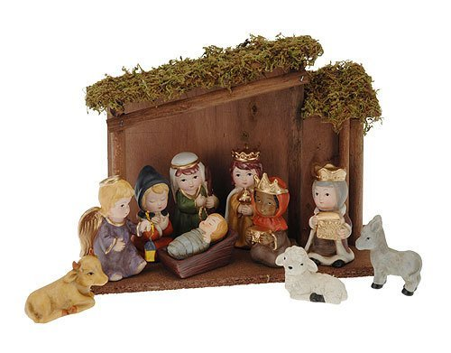Childrens Nativity Scene Set, 11 piece, Baby Jesus, Mary, Joseph, Kings, Shepherd, Angel, Stable, Donkey by Palmers