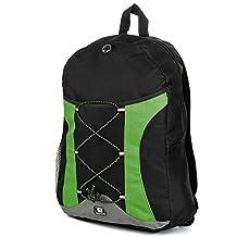 """SumacLife Canvas Athletic Ultra-Lightweight Sport Backpack / Shoulder Bag / School Backpack / Trave Bag / Laptop Bag Fits 14"""" 15"""" 16"""" inch(Green/Black)"""