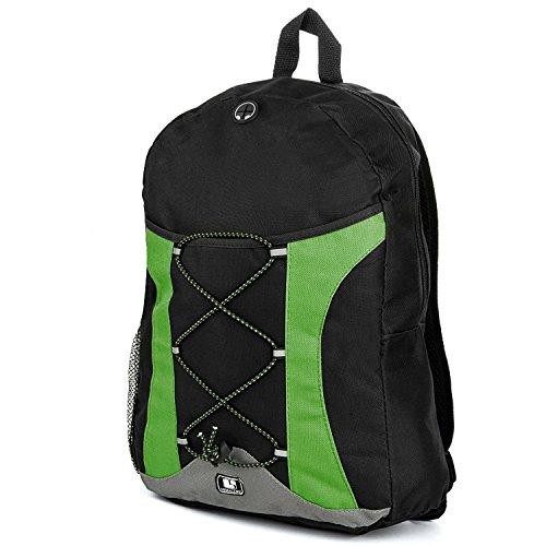 15.4 Inch Backpack Green Canvas - SumacLife Canvas Athletic Ultra Lightweight Sport Backpack, Shoulder Bag, Backpack, Trave Bag, Laptop Bag Fits 14 15 16 inch, Green and Black