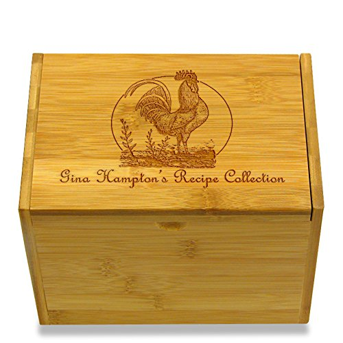 Cookbook People Rooster Collection Bamboo Personalized 4x6 Recipe Card Box (Rooster Recipe Box)