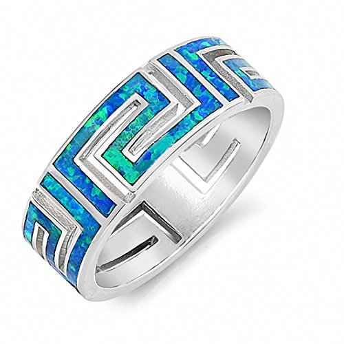7mm Greek Key Band Ring Created Blue Opal 925 Sterling Silver,Size-7 ()