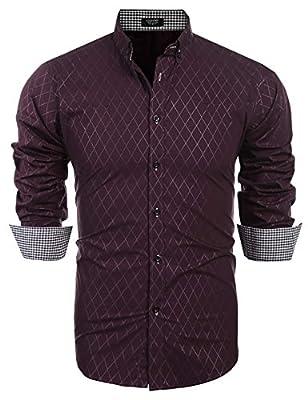 JINIDU Men's Long Sleeve Plaid Slim Fit Button Down Dress Shirt