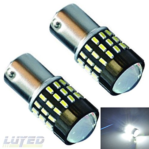 LUYED 2 x 650LM Super Bright 12-24v 1156 3014 54-smd White Color 1156 1141 1003 7506 LED Bulbs for Back Up Reverse Lights,Brake Lights,Tail Lights,Rv lights