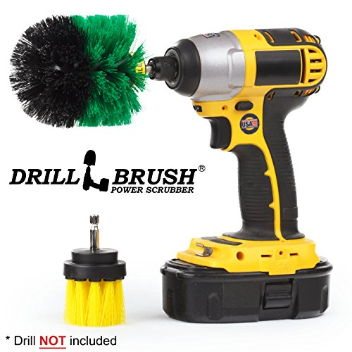 Drill Powered Tub, Sink, Porcelain, Tile and Grout Brush Small Shower Track Brush by Drillbrush