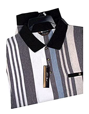 Ld sport big and tall mens stripe knit banded for Mens banded bottom shirts big and tall