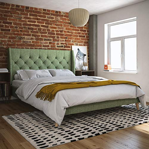 Novogratz 4356929N Her Her Majesty Upholstered Bed, Full, Green
