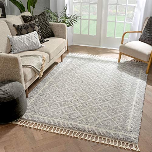 Well Woven Allie Grey Moroccan Shag Diamond Trellis Pattern Area Rug 8×10 7'10″ x 9'10″