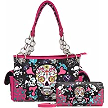 Floral Sugar Skull Cross Bone Day of the Dead Western Handbags Punk Women Shoulder Bag Wallet Set