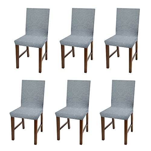 (Linen Store Luxurious Damask Dining Chair Cover, Form Fitting Soft Parson Chair Slipcover, Grey, Set of 6)