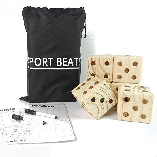 SPORT BEATS Giant Wooden Yard Dice Set 6 in Carry Bag for Outdoor Fun , barbeque , picnic , tailgating games , party events , lawn games with Dry Erase - Tips Tailgating