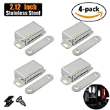 #5: JQK Magnetic Cabinet Door Catch, Stainless Steel Closet Catches 4 Pack with Strong Magnetic, 1.2mm Thickness Furniture Latch, CC101-P4