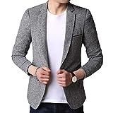Winwinus Men's Popular Lounge Silm Autumn Warm Blazer Jacket Suits Light Grey L