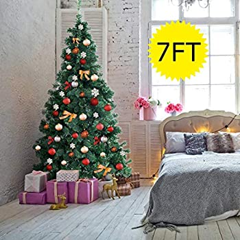 d937585e7c5c Goplus Artificial Christmas Tree Xmas Pine Tree with Solid Metal Legs  Perfect for Indoor and Outdoor Holiday Decoration (7 feet