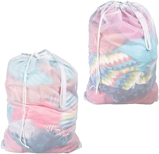 mDesign Juego de 2 Saco para ropa sucia – Práctica bolsa para la ...