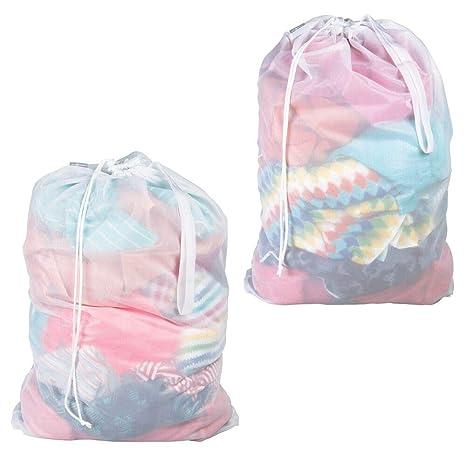 mDesign Juego de 2 Saco para ropa sucia – Práctica bolsa para la colada de tejido de red transpirable – Duradera bolsa de lavado para la lavadora – ...