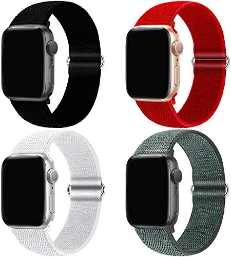 QIENGO 4Pack Compatible for Apple Watch Band 38mm 40mm 42mm 44mm,Adjustable Soft Lightweight Breathable Sports Replacement Band for Series 6 5 4 3 2 1 SE