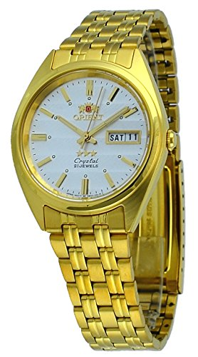Orient #FAB00008W Men's 3 Star Standard Gold Tone Silver Dial Automatic Watch