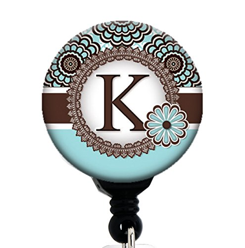 (K Initial Blue and Brown Floral - Retractable Badge Reel With Swivel Clip and Extra-Long 34 inch cord - Badge Holder)