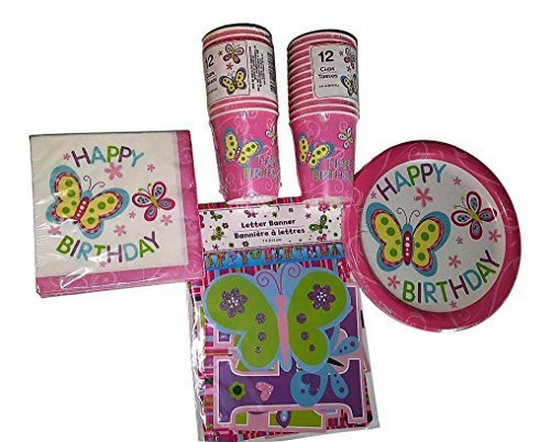 Happy Birthday Butterfly Party Pack Bundle Girls includes Plates (18) Napkins (20) Cups (24) and Banner (1)
